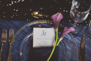 Sophistication + Dark Romance Purple Lily on Gold Edged Glass Charger Plate by Paradise Events