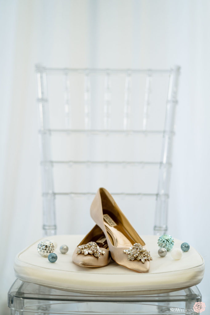 Sparkly Bridal Shoes sitting on white chair at Trump Hotel Vancouver