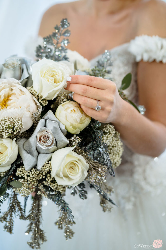 Blue and silver sparkle with white roses bridal bouquet by Proline Trading Vancouver