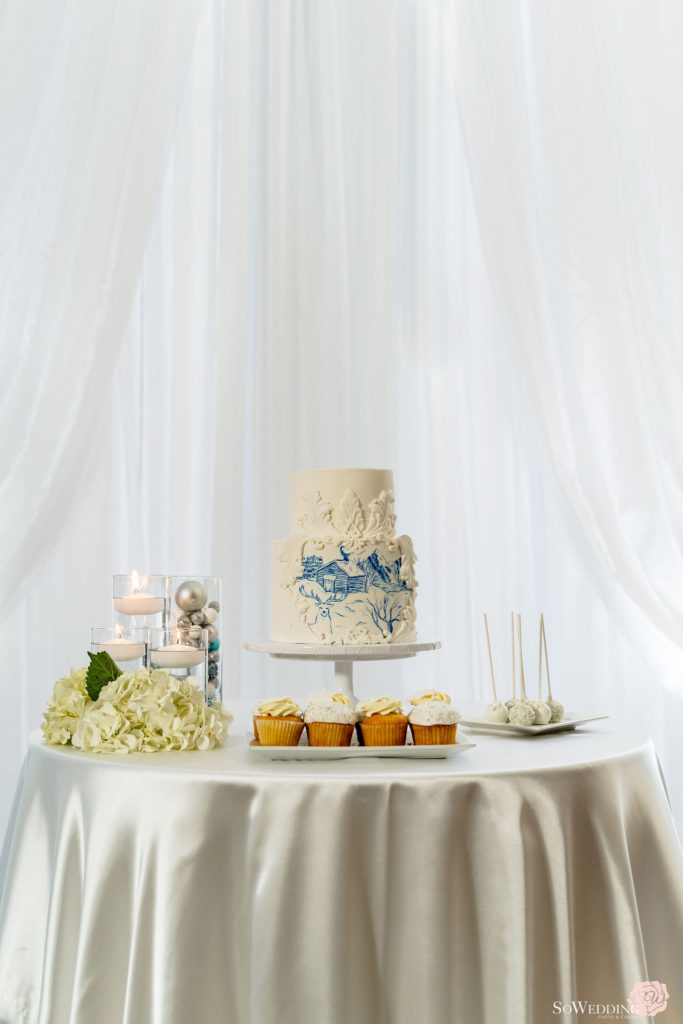 Winter Magic Wedding White and blue wedding cake by Eventful by Mandy in Vancouver