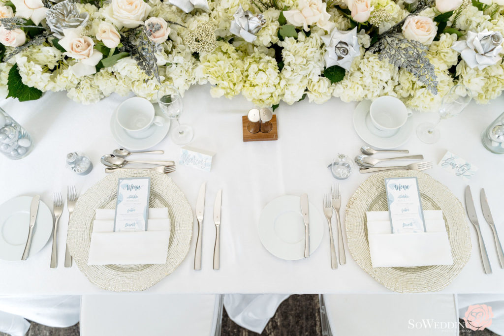 Winter Magic Reception Guest Table Setting with menu cards in silver at Trump Hotel Vancouver
