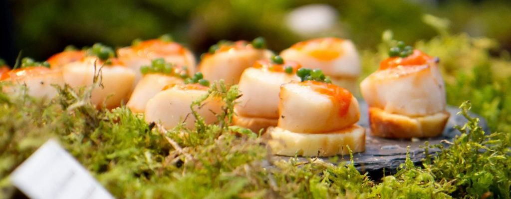 Sushi pieces on green moss with Truffles Catering Victoria