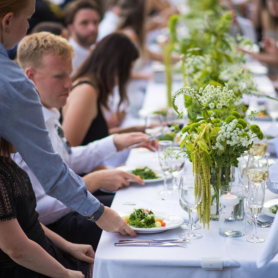 Plated meals are served at Vancouver Island outdoor reception by Truffles Catering
