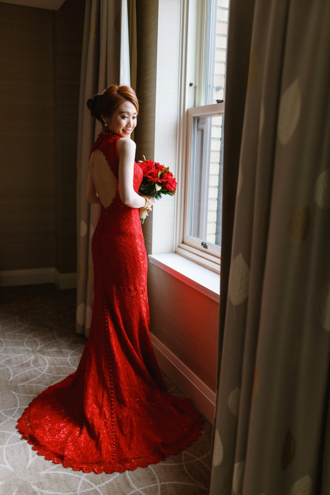 Love Fusion Wedding Show bride in red gown in Vancouver