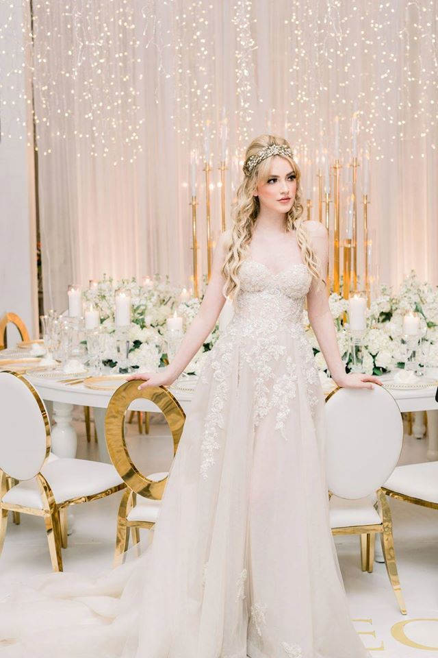 Bride in Bisou Bridal gown at Fleur Vancouver by Simply Sweet PHotography