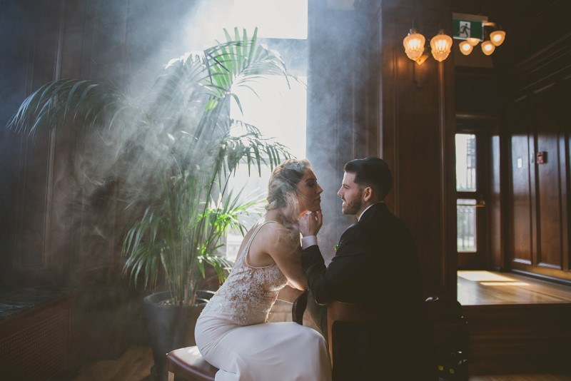 Tropical Empress Wedding couple surrounded by palms and shadows by KGoodPhoto