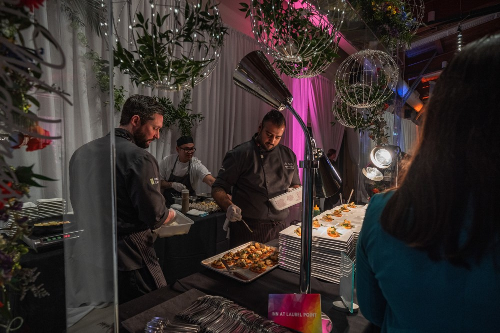 Inn at Laurel Point Chefs feeding guests at Vancouver Island Wedding Awards 2020