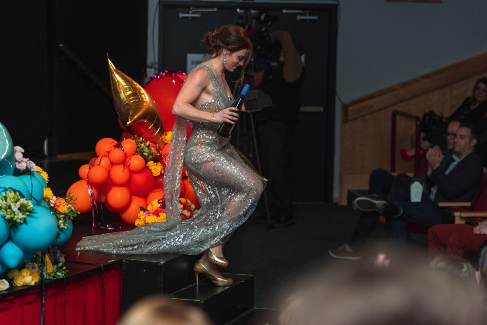 Vancouver Island Wedding Awards 2020 Host Kelsey Goodwin accepts Photography Award at Mary Winspear Centre