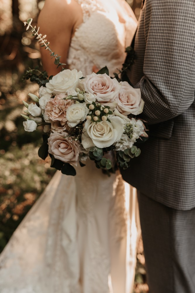 Golden Hour white and pink roses bouquet from Coastal Weddings & Events lace gown