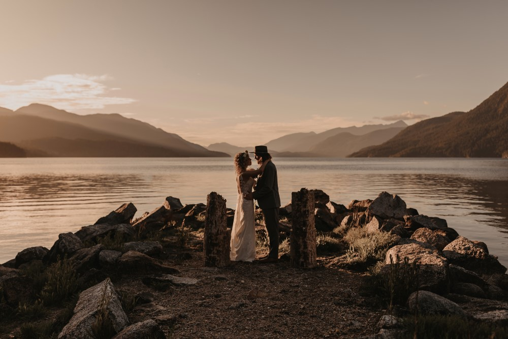 Golden Hour Sunshine Coast Elopement by the water with natural altar