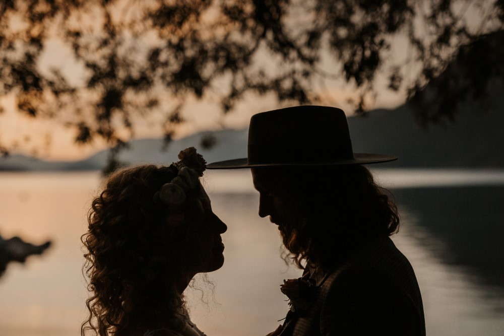 Golden Hour Newlyweds Silhouette by lake
