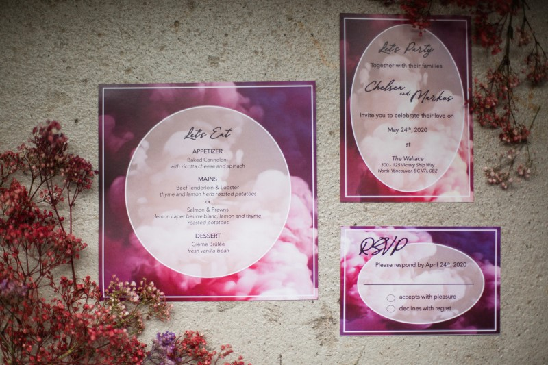 Whimsical Paper Suite and Wedding Invites in Purples and Pinks