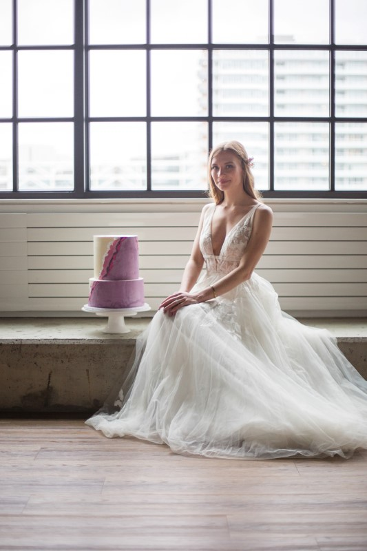 Whimsical Elegance Wedding Cake and Bride by Danielle Wong Photography