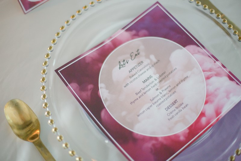 Whimsical purple and pink paper suite invites at The Wallace Vancouver