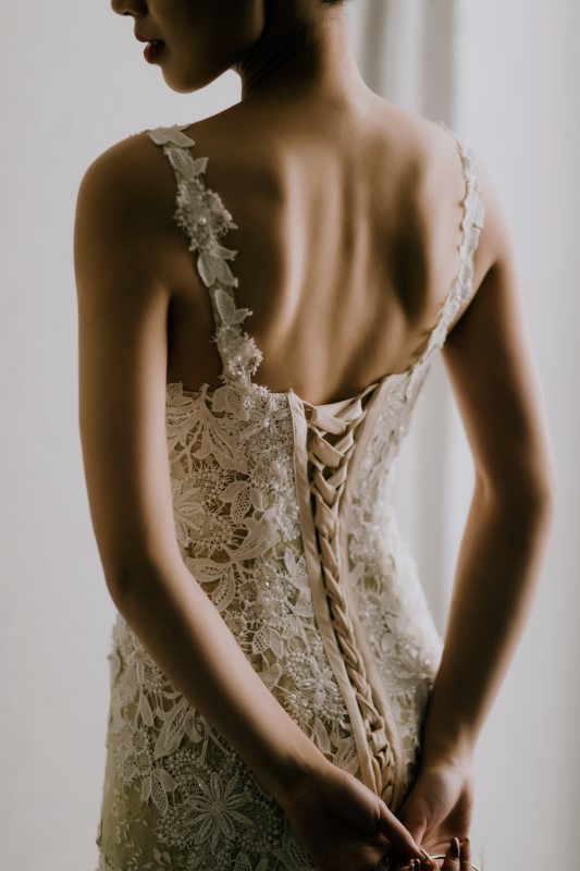Dreramy White Wedding back of lace wedding gown, with corset