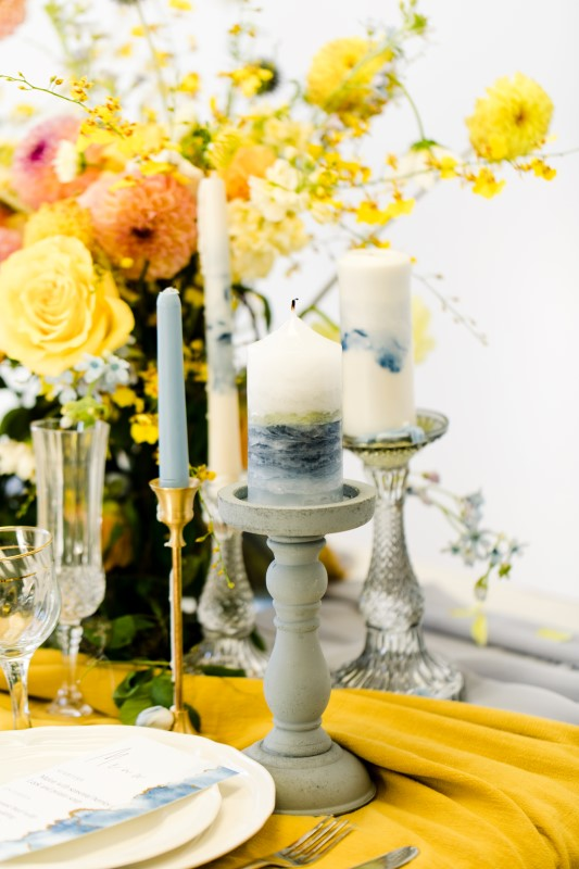 Exquisite Dusty Blue Wedding Inspiration Candles by Ideal Events Vancouver