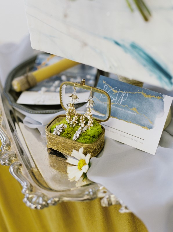 Diamond Earrings on Silver Tray with Dusty Blue Paper Suite by Ideal Events Vancouver