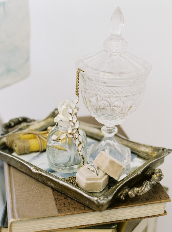 Crystal Decor on Silver Tray and Dusty Blue Wedding Accents