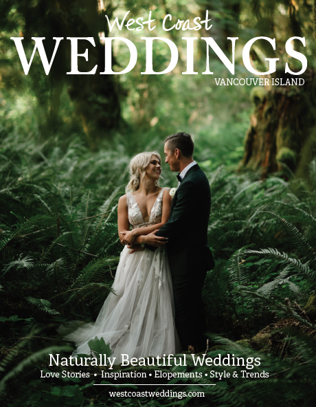 Wedding magazine cover with newlyweds in forest surrounded by ferns by Erin Wallis Photography
