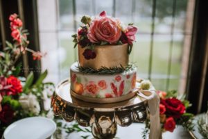 Gold and Blush Wedding Cake with Roses at Fairmont Empress by Schur to Please