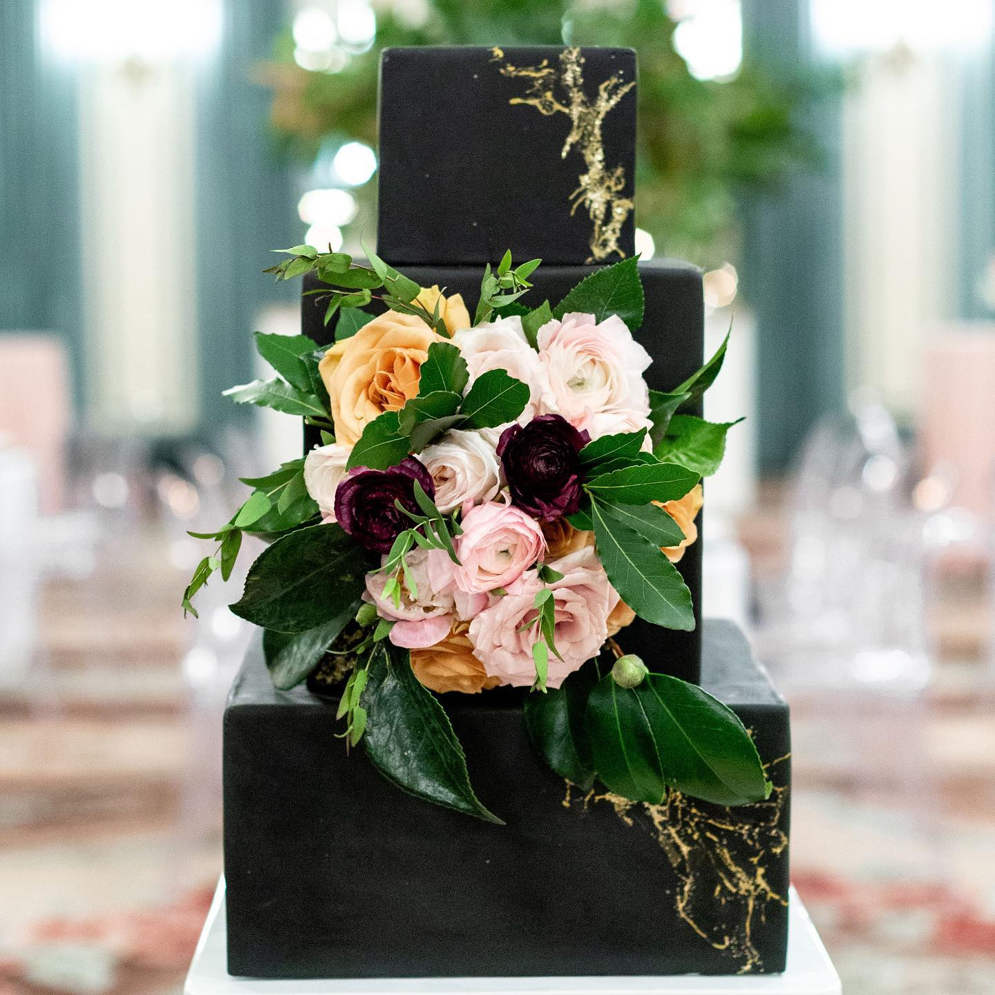 Black Square Wedding Cake with flowers by Passion for Cakes Vancouver Island