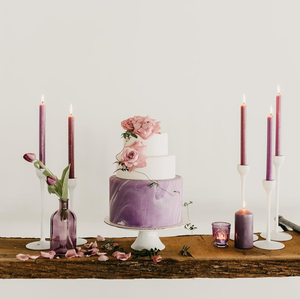 Purple and White Wedding Cake with Roses by Schur to Please Boutique Cakery