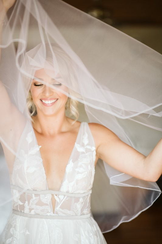 Bride and veil Willowby by Watters gown The White Peony Vancouver Island