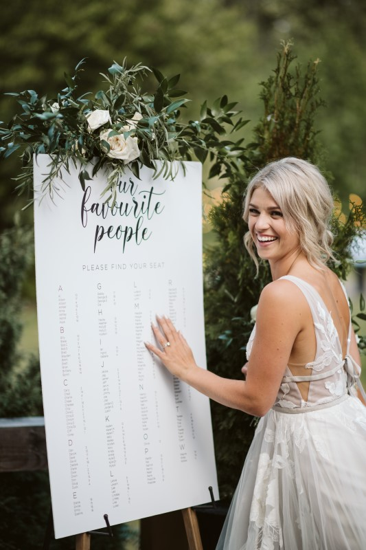 Bride reading Guest List made of parchment by Party Mood on Vancouver Island