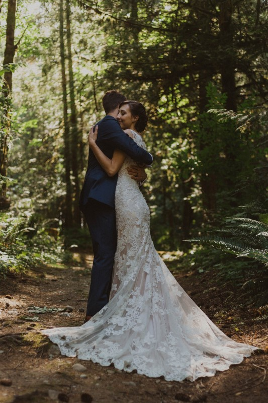 Vancouver Island Newlyweds Embrace in Forest
