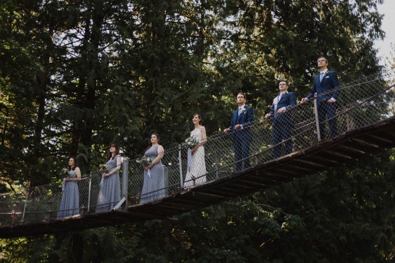 Bridal Party on Suspension Bridge Vancouver Island