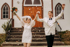 Vintage Inspired Wedding Couple Celebrate with Bleeslens Photography on Vancouver Island