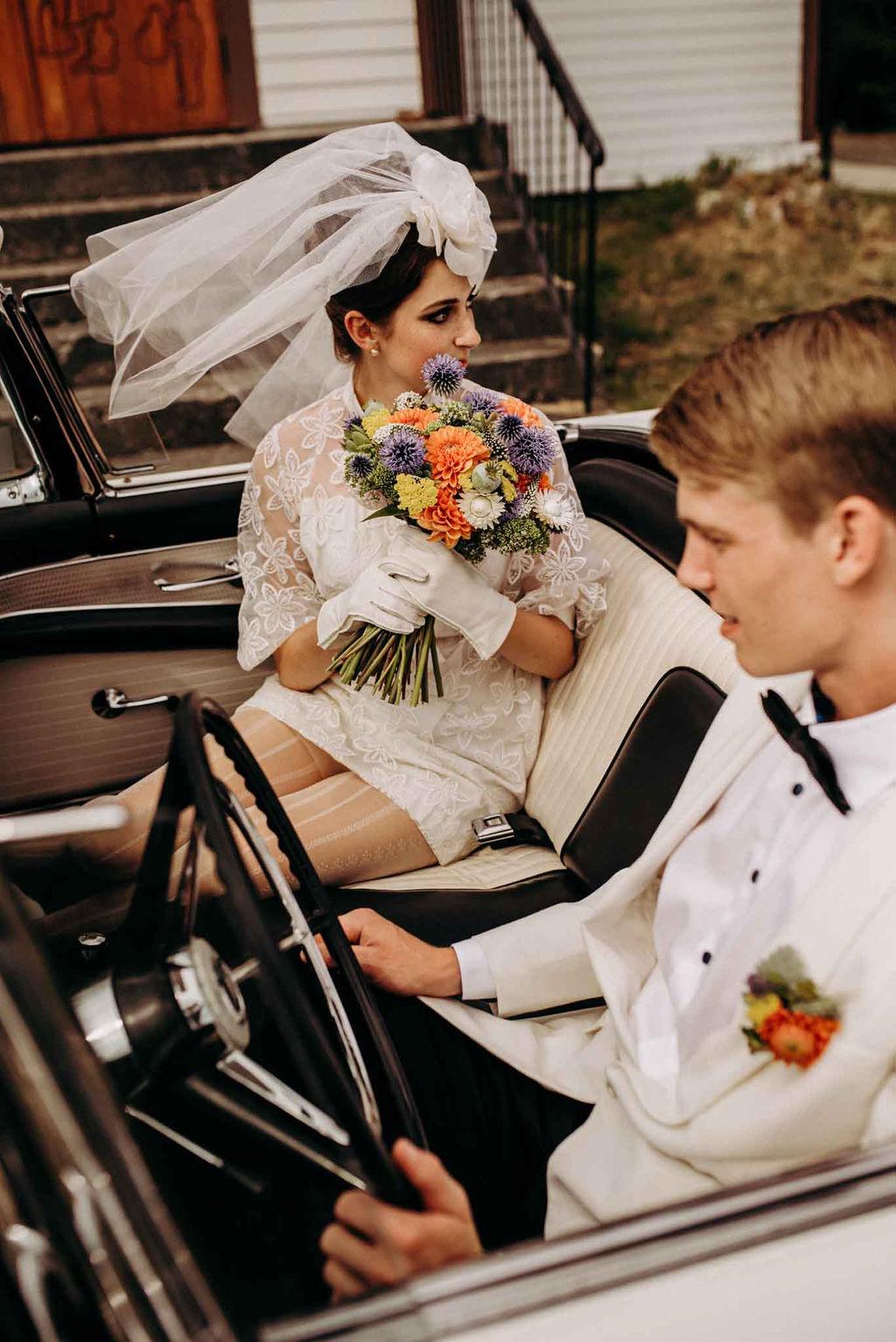 60's Themed Wedding Couple Vancouver Island