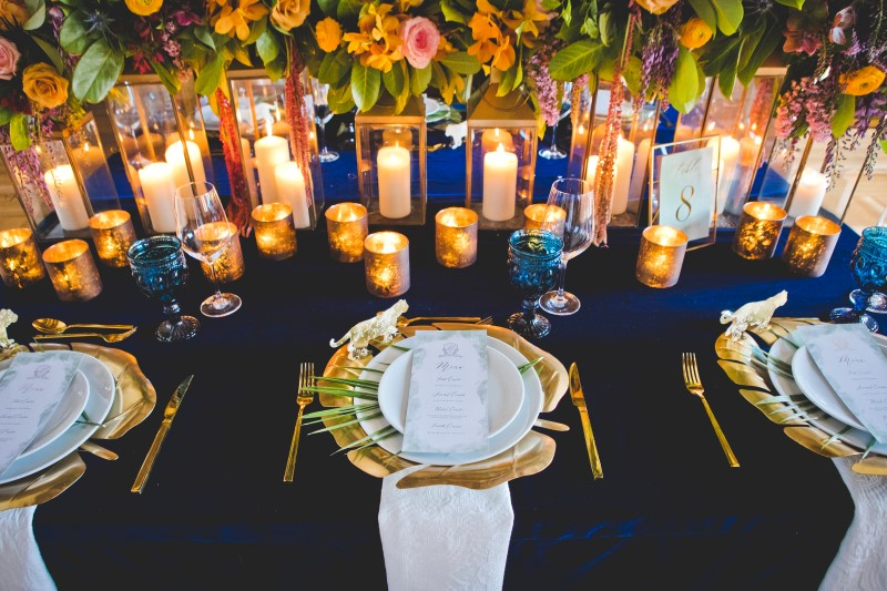 Royal Blue and Orange Wedding Table Setting Photographed by Dragonflight Photography