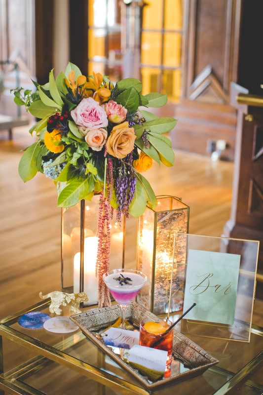 Colourful Candlelit Centerpiece for Wedding Reception