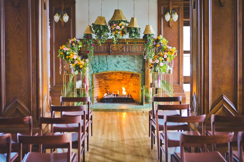 Bold Decor at Wedding Venue Bengal Lounge at The Fairmont Empress