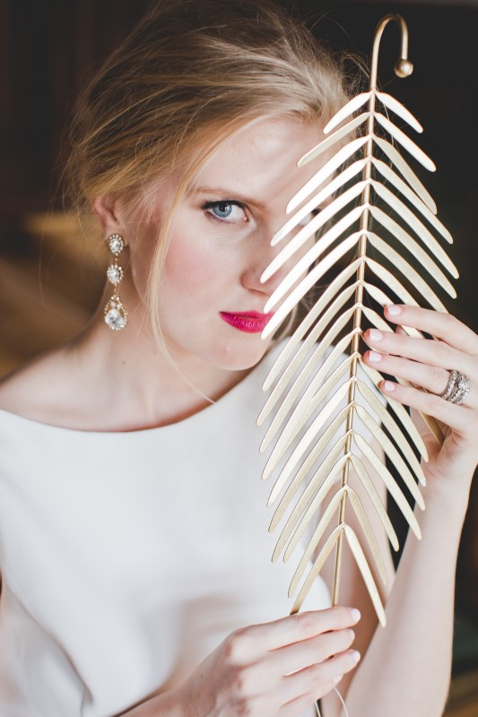 Bridal Jewellery by Vanna K and Bridal Makeup by Erica Harris, Bridal Updo by Mirjana Rousseau for Shampoo Hair Bar