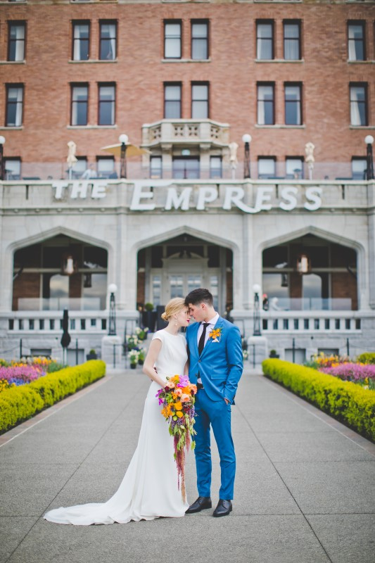 Bride and Groom Vancouver Island Wedding at The Empress