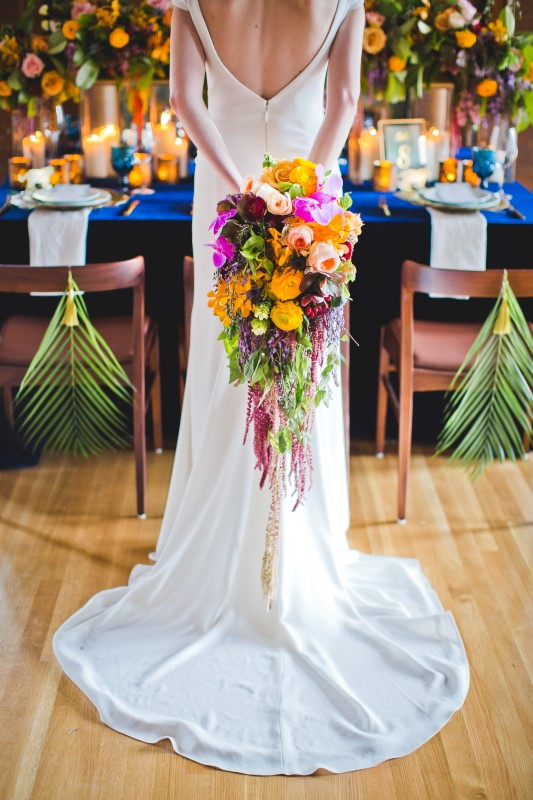 Bride with Bold and Colourful Bouquet by Platinum Floral Designs