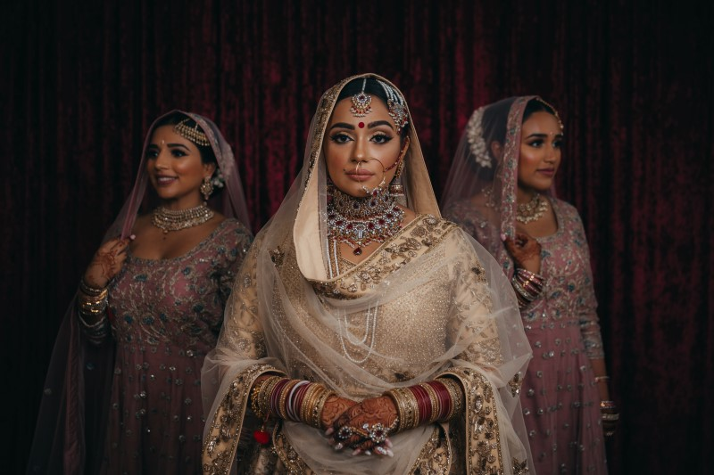Flawless Bridal Fusion Indian Bride and Bridesmaids in Blush Sarees in Vancouver