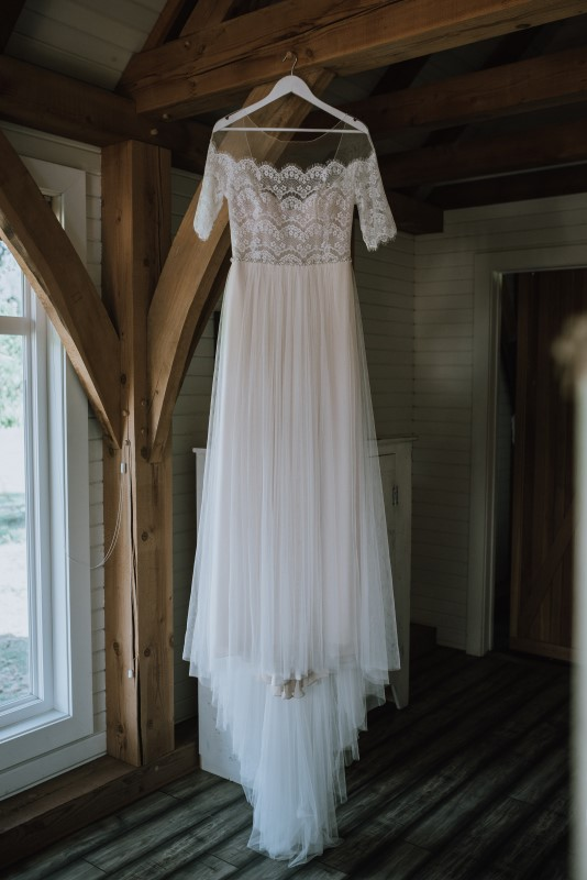 Romantic Lace and Chiffon Wedding Dress by Bliss Gowns Nanaimo