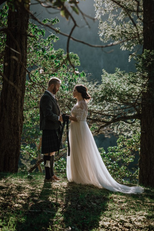 Scottish Spirit Bride and Groom Attired by Bliss Gowns and North of Hadrian's