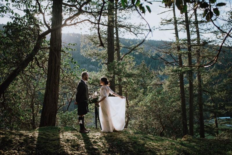 Vancouver Island Scottish Spirit Wedding Couple at Birds Eye Cove