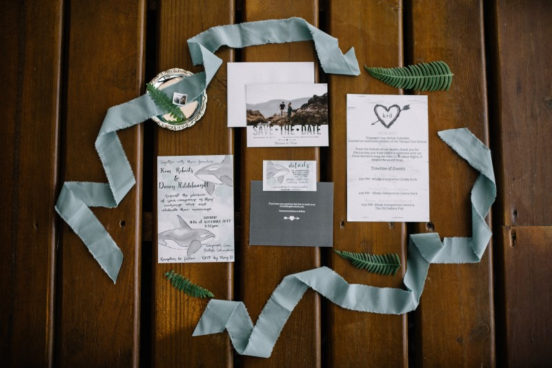 Seaside Romance Wedding Paper Suite with smoky blue ribbon on Vancouver Island