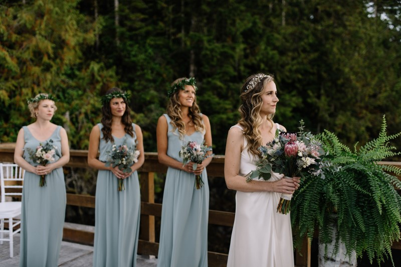 Pale Blue Bridesmaids Dresses with Bouquets by Thrifty Foods