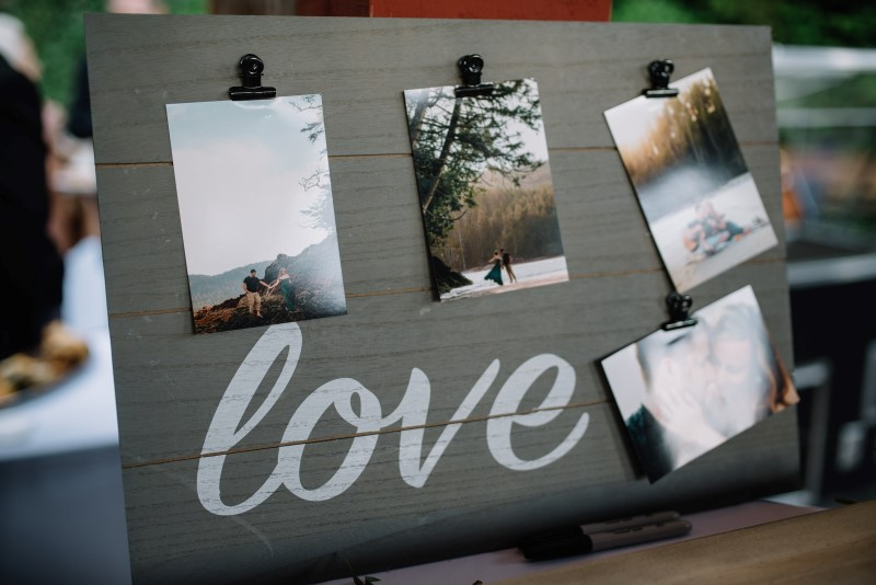 Romance Memory Board at Wedding Reception on Vancouver Island