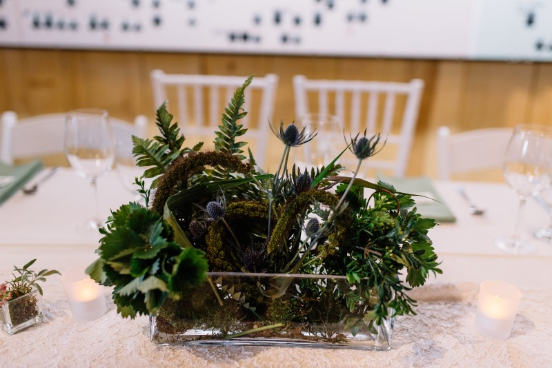 Forest Inspired Wedding Centerpiece by Thrifty Foods on Vancouver Island
