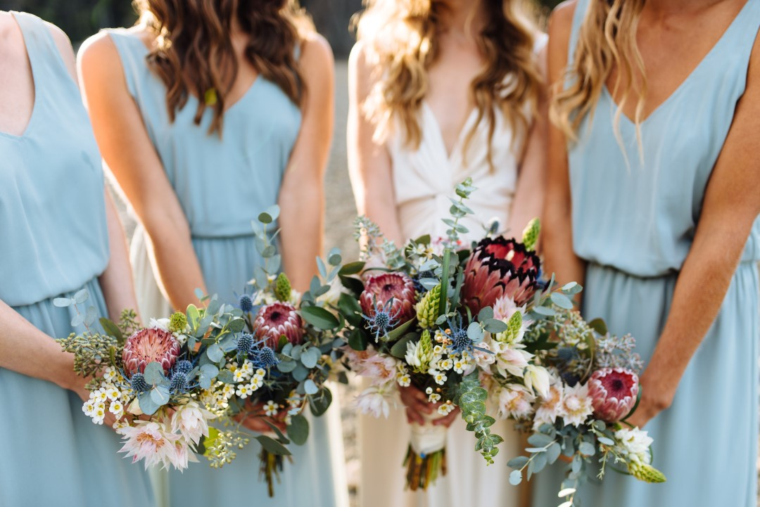 Smokey Blue, Burgundy and Cream Wedding Bouquets by Thrifty Foods