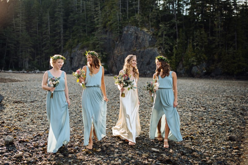 Bridesmaids in Pale Blue Gowns Carry Thrifty Foods Bouquets on Vancouver Island Beach