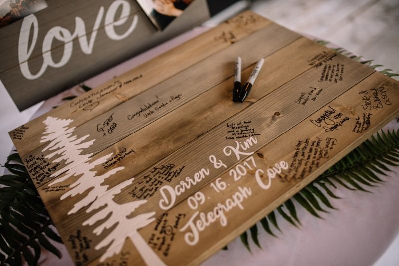 Wedding Guest West Coast Signing Board on Vancouver Island