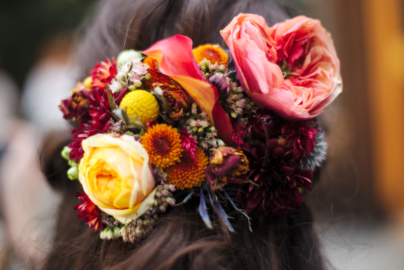 Yellow rose and Pink Dahlia Floral Hairpiece for Bridesmaid